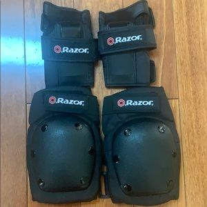 Razor youth black pad set with guards